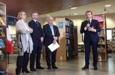 Françoise Nyssen, Noël Corbin, Erik Orsenna e Emmanuel Macron  (Foto de Véronique Heurtematte)