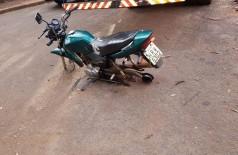 Polícia recupera moto furtada sem rodas em Dourados (Foto: divulgação/PM de Dourados)