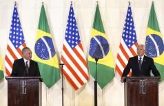O presidente Michel Temer e o vice-presidente do EUA, Mike Pence, durante declaração à imprensa, no Palácio Itamaraty (Foto: Marcelo Camargo/Agência Brasil)