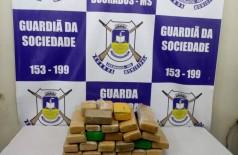 Passageiro de ônibus é flagrado com 26 tabletes de maconha na rodoviária de Dourados (Foto: divulgação/Guarda Municipal)