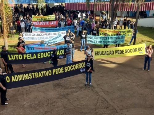 Educadores devem fazer nova manifestação na Prefeitura de Dourados (Foto: Divulgação/Simted)