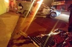 Polícia no local onde ocorreu o assassinato (Foto: Divulgação/PM)