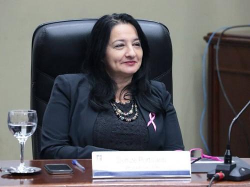 Ex-secretária de Educação, vereadora Denize Portollan está presa (Foto: Thiago Morais)