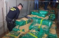 Policiais do MS apreendem 10,7 toneladas de maconha em caminhão carregado de milho (Foto: DOF - Sejusp -MS)