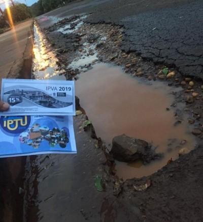 Douradense mostra situação da rua precária - Foto: Everton Gabriel