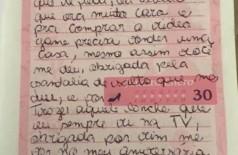 Júlia escreveu uma carta para uma voluntária que a visitava - Foto: Facebook/Reprodução
