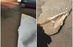 Placa de metal colocada em buraco no meio da rua (Foto: divulgação/94FM)
