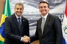 No final do mês passado, em Foz do Iguaçu (PR), os presidentes Mario Abdo Benítez e Jair Bolsonaro se reuniram. - Alan Santos/PR