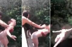 Jovem é empurrada de ponte em parque nos EUA - Foto: Reprodução/YouTube