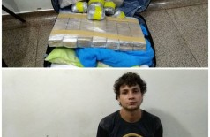 Droga apreendida e o acusado Alexandro da Silva Rodrigues - Fotos: Adilson Domingos