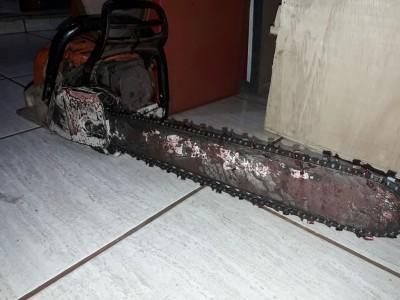 Motosserra utilizada na tentativa de assassinato - Foto: Rio Brilhante em Tempo Real