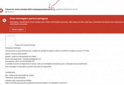 Confira na imagem um exemplo do e-mail falso (Foto: Reprodução/TJ-MS)