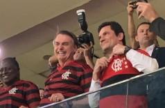 Bolsonaro e Moro assistem ao jogo Flamengo e CSA no Mané Garrincha (Foto: reprodução/Twitter Sergio Moro)