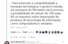Bolsonaro diz que avalia reduzir para 4% imposto sobre produtos de TI (Foto: reprodução/Twitter-Bolsonaro)