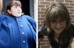 Denise Nickerson em cena de A Fantástica Fábrica de Chocolate (1971) e em foto mais recente (Foto: Reprodução)