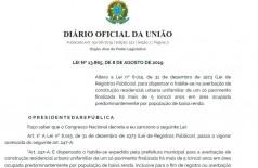 """Publicada lei que dispensa """"habite-se"""" para famílias de baixa renda (Foto: reprodução/DIÁRIO OFICIAL DA UNIÃO)"""