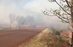 Vento levou chamas de incêndio em pastagem na direção de casas (Foto: Reprodução)