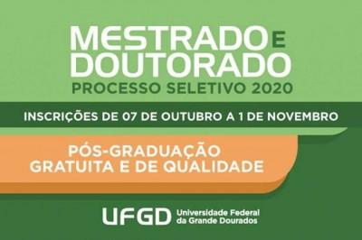 Começam inscrições para 20 Programas de Pós-graduação da UFGD