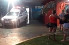 Ambulância que transportou o agressor ao hospital da cidade. (Foto: Olimar Gamarra)