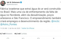 "Bolsonaro anuncia fábrica ""que extraí água do ar"" (Foto: reprodução/Twitter-presidente Jair Bolsonaro )"