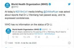 Hospital de Wuhan confirma morte de médico que identificou coronavírus (Foto: reprodução/Twitter)