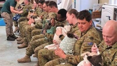 Militares amamentam colas Foto: Reprodução/Facebook(9th Brigade - Australian Army)