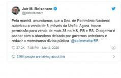 Governo autoriza venda de 35 imóveis da União (Foto: reprodução/Twitter/Jair Bolsonaro)