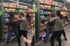 Briga por papel higiênico em supermercado inglês - Foto: Reprodução/Twitter