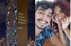 Wildson Caldeira pediu Sarah Elisa em casamento com projeção em um prédio em Belo Horizonte (Foto: Reprodução/Instagram)