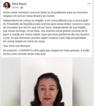 Prefeita de Dourados fez convocação através de vídeo publicado nas redes sociais (Foto: Reprodução/Facebook)