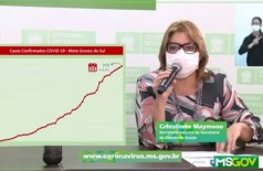 Secretária-adjunta de Saúde, Christine Maymone, repetiu em live que o Estado está longe de superar a pandemia (Foto: Reprodução) - CREDITO: CAMPO GRANDE NEWS
