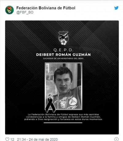 Covid-19: Federação atesta 1ª morte de jogador de futebol na Bolívia (Foto: reprodução/ Federación Boliviana de Fútbol)
