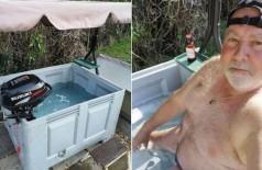 Paul Vaughan e sua 'banheira de hidromassagem' - Foto: Reprodução/Facebook(Paul Vaughan)