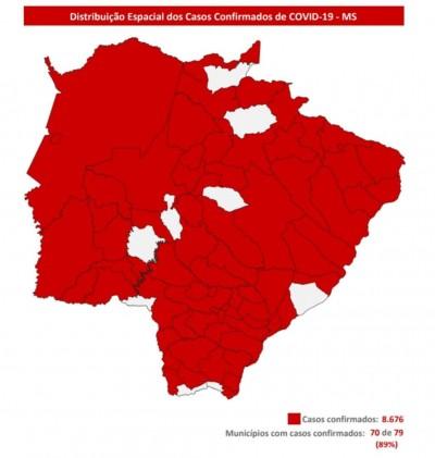 Mapa mostra casos confirmados de Covid-19 em MS - Foto: reprodução/Secretaria de Saúde de MS
