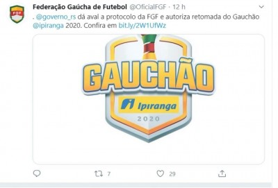 Campeonato Gaúcho já tem data de reinício, 23 de julho (Foto: reprodução/Twitter: Federação Gaúcha de Futebol)