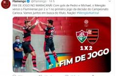 Carioca: Flamengo vence Fluminense no primeiro jogo da final (Foto: reprodução/Twitter)