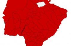 Mapa mostra municípios de MS com casos confirmados de Covid-19 - Foto: reprodução/Governo de MS