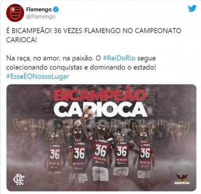 Flamengo vence por 1 a 0 e conquista seu 36º título Carioca (Foto: reprodução/Twitter/Flamengo)