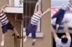 Homem agarra menino de 2 anos, deixado sozinho em casa, após cair do quinto andar de prédio (Foto: reprodução)