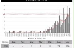 Gráfico mostra mortes desde o início da pandemia em MS - Foto: governo de MS