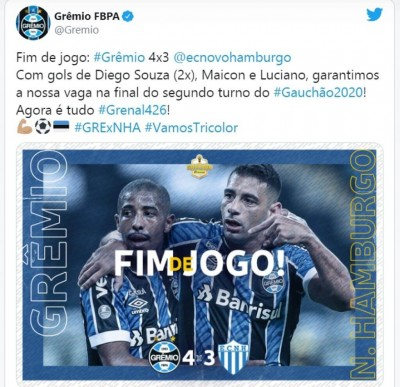Foto: reprodução/Twitter Grêmio FBPA
