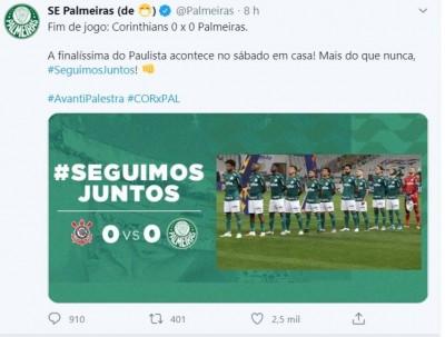 Corinthians e Palmeiras abrem final do Paulista com empate sem gols (Foto: reprodução/Twitter Palmeiras)