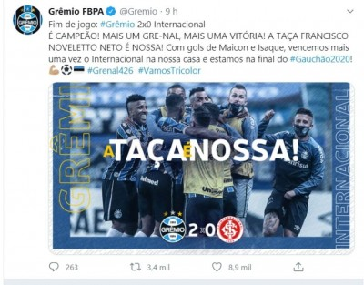 Grêmio vence Inter e conquista segundo turno do Gaúcho (Foto: reprodução/Twitter Grêmio)