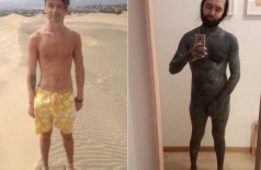 Yannick antes e depois de cobrir quase todo o corpo Foto: Reprodução/Instagram(theevilblackout)