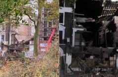 Casas de R$ 30 milhões desabam em Londres Foto: Twitter(Andrew Reeves) e London Fire Brigade