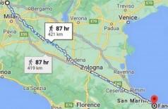 Trajeto de uma semana de caminhada entre Como e Fano, na Itália - Foto: Reprodução/Google Map