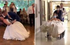 Momento em que noiva torce o joelho e, depois, no hospital Foto: Reprodução/TikTok