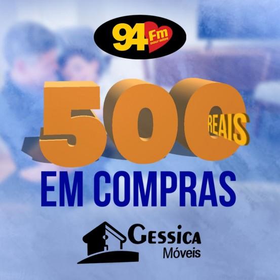 Banner: 500 reais em compras Géssica Móveis