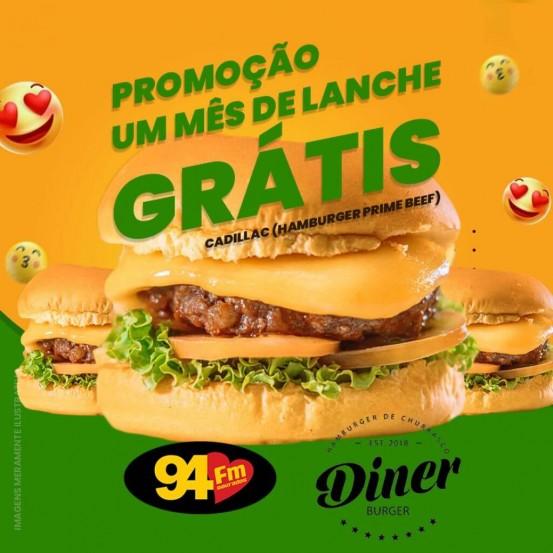 Banner: Um mês de lanche grátis Diner Burger